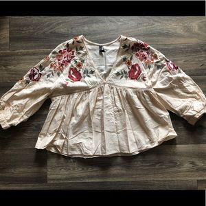 ZARA embroidered top. Size XL